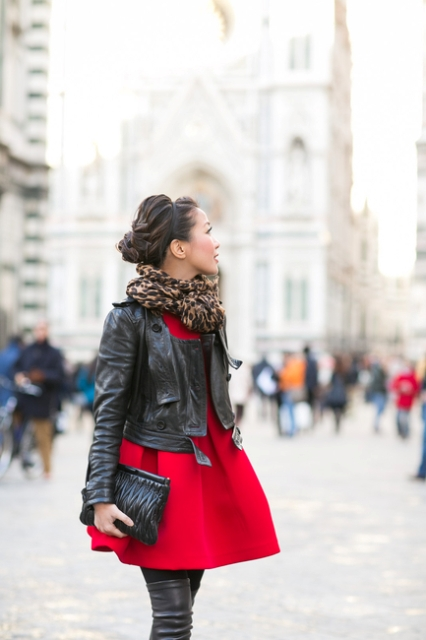 With red dress, over the knee boots and black leather jacket
