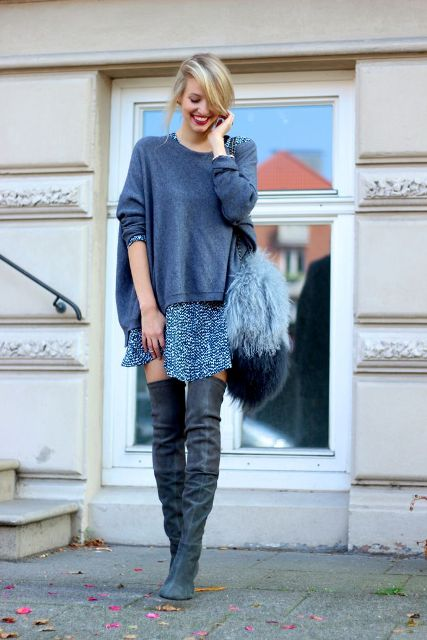 With gray loose shirt, printed mini skirt and over the knee boots