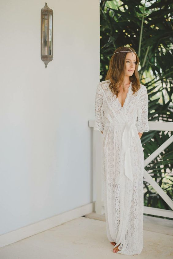 a boho lace long bridal robe with half sleeves and sashes is a great idea if your wedding is a free-spirited one