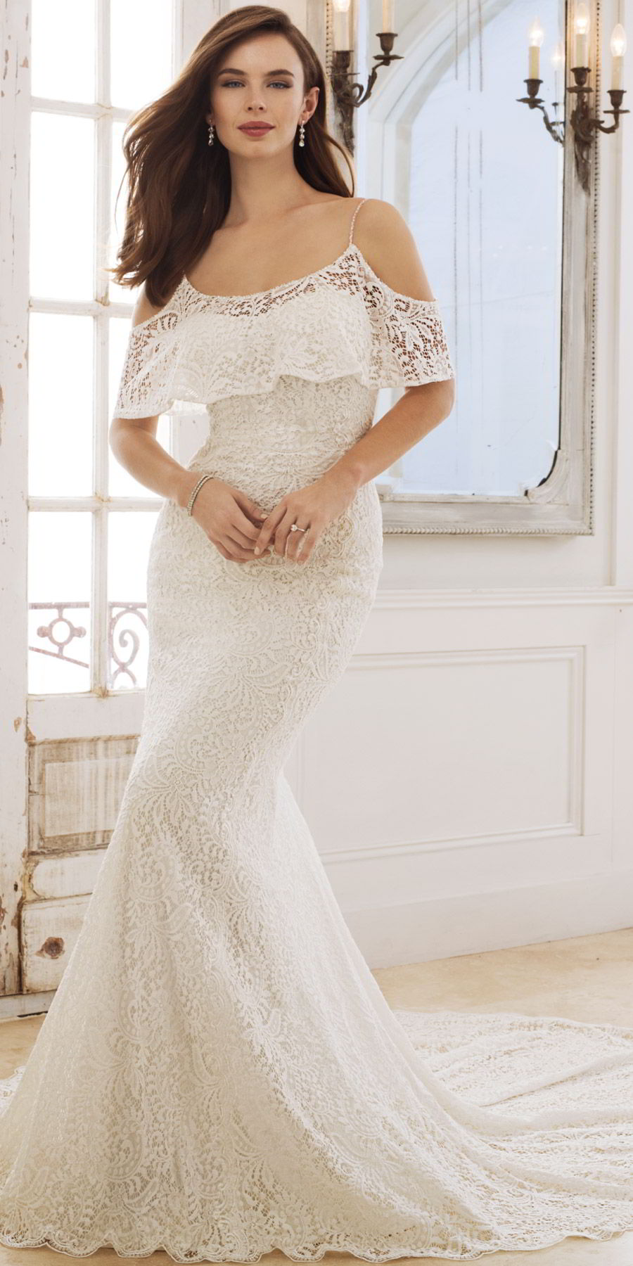 sophia tolli spring 2018 mon cheri bridals cold shoulder flutter sleeves beaded straps scoop neck sheath lace wedding dress (y11875 rhea) mv chapel train bohemian romantic