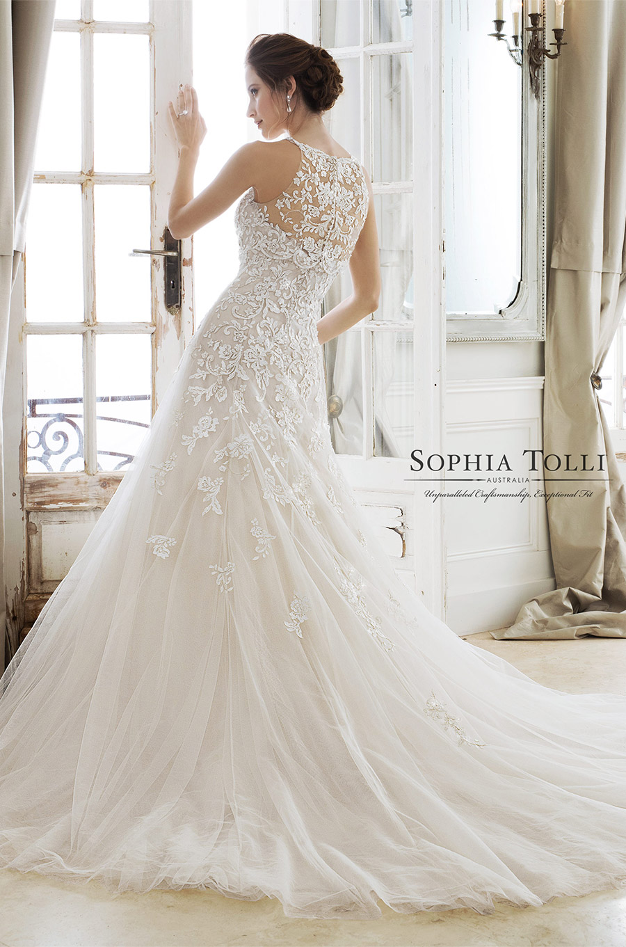 sophia tolli spring 2018 mon cheri bridals strapless sweetheart beaded lace a line wedding dress (y11866 adonia) bv illusion halter neck top chapel train elegant romantic