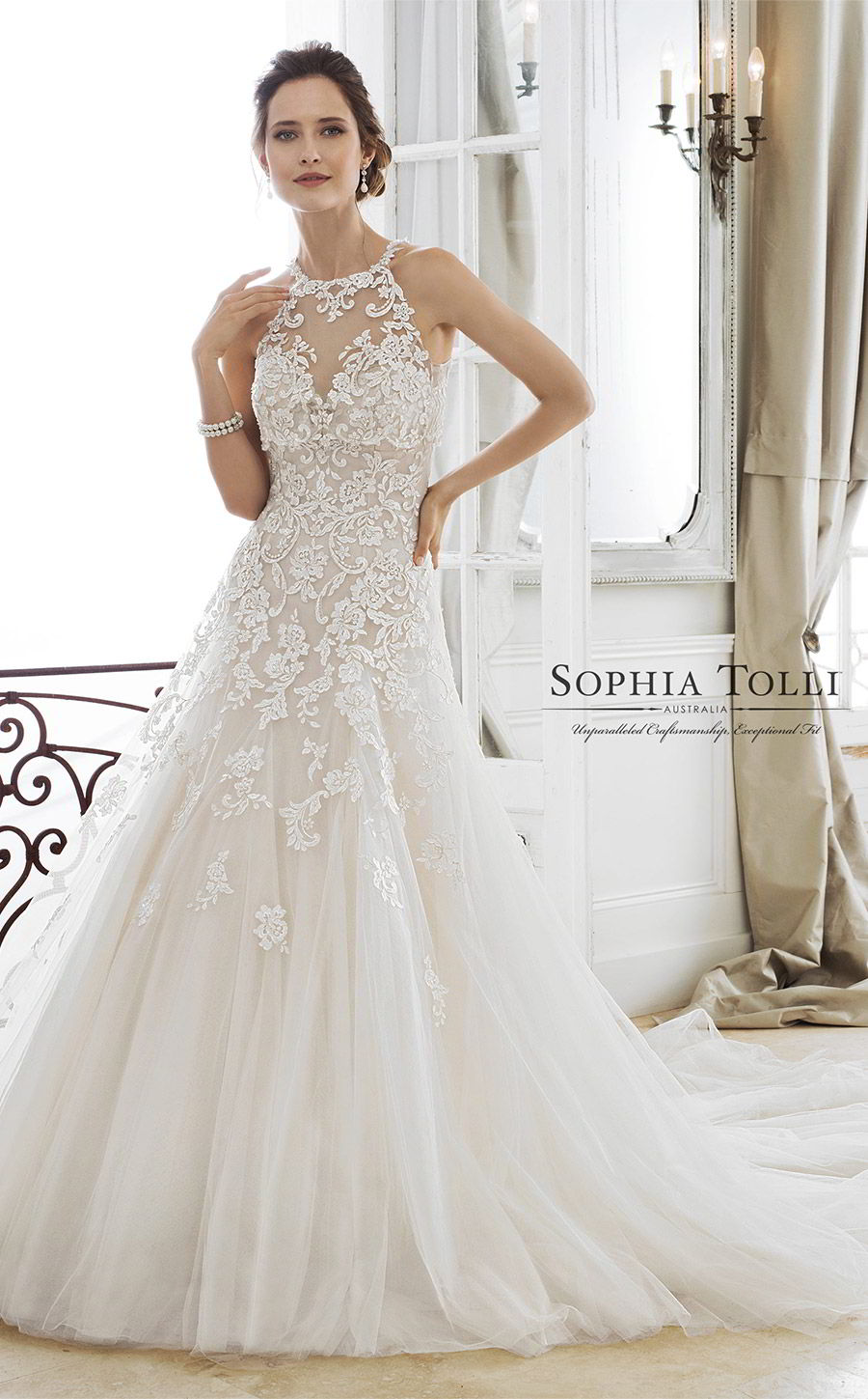 sophia tolli spring 2018 mon cheri bridals strapless sweetheart beaded lace a line wedding dress (y11866 adonia) mv illusion halter neck top chapel train elegant romantic