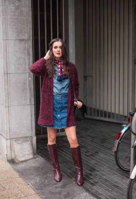 With denim shirt, denim skirt, marsala high boots, marsala cardigan and black bag