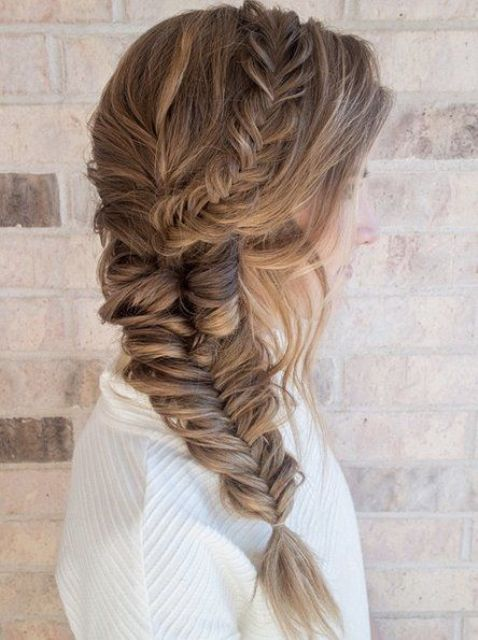 a largre fishtail braid coming up the head is a wow idea for winter