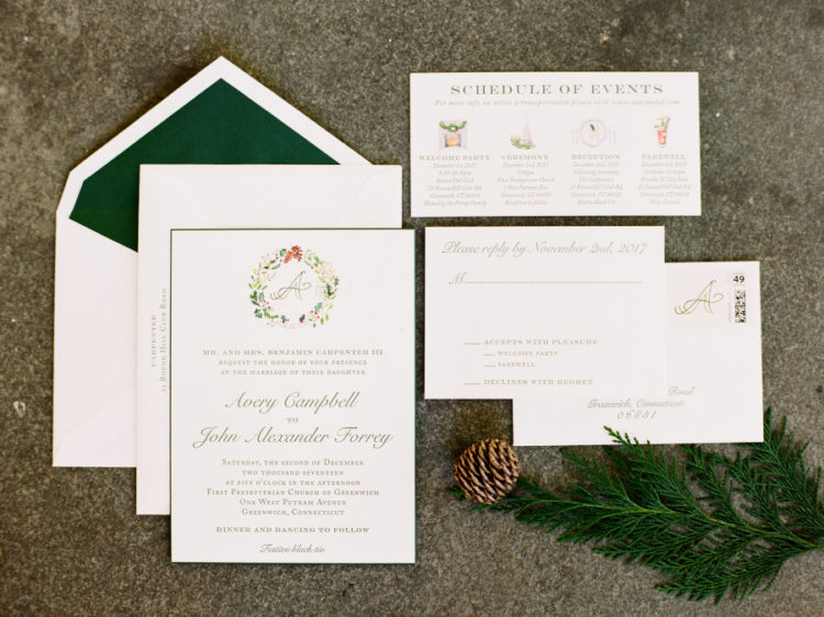 The wedding invitation suite was done in green and red