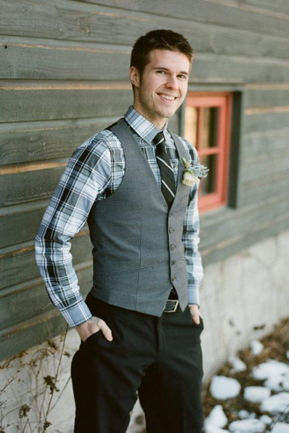 black pants, a checked shirt, a striped tie, a grey vest for a winter groom's outfit