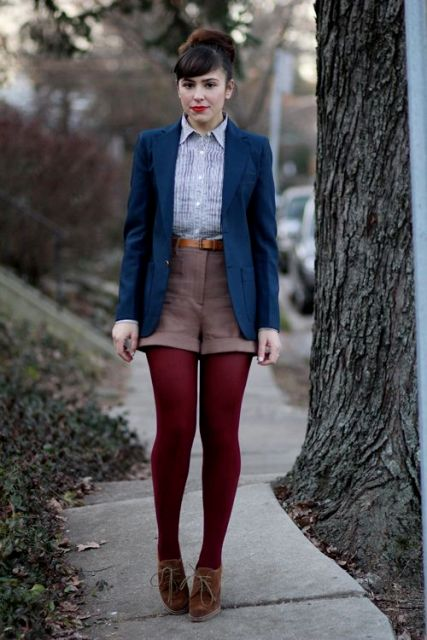 With light blue shirt, navy blue blazer, marsala tights and suede boots
