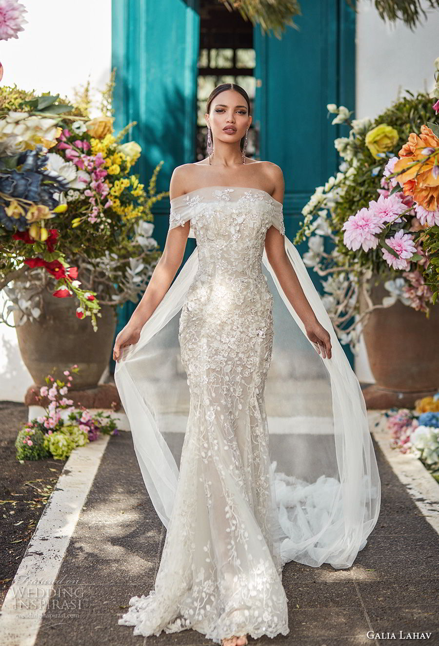 galia lahav couture fall 2018 bridal off the shoulder straight across neckline full embellishment elegant fit and flare wedding dress sweep train (16) mv