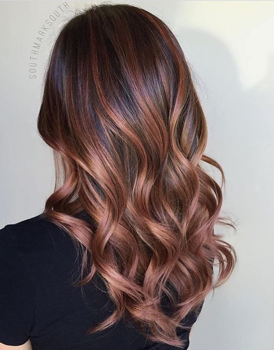 dark brunette hair with rose gold balayage look like in perfect harmony