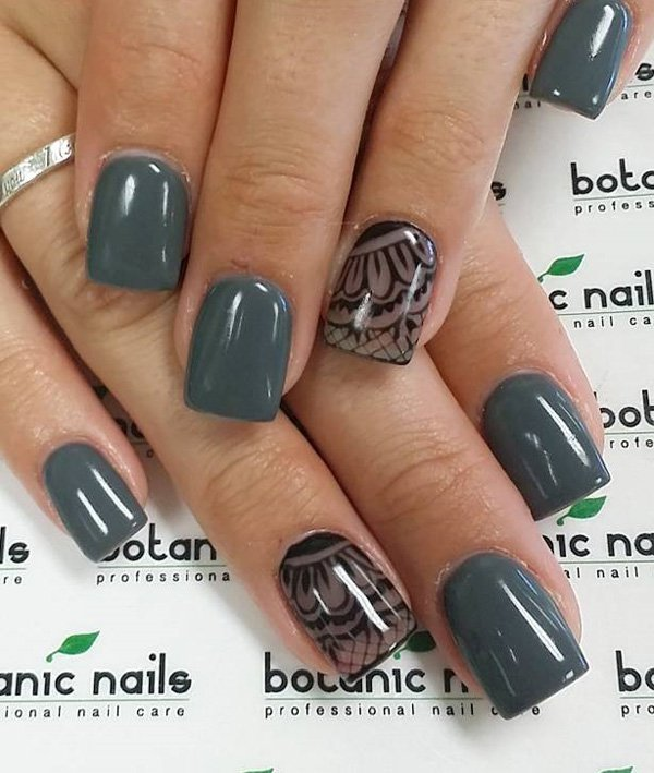 Gary-and-lace-nail-art Winter Nail Art Ideas - 80 Best Nail Designs This Winter