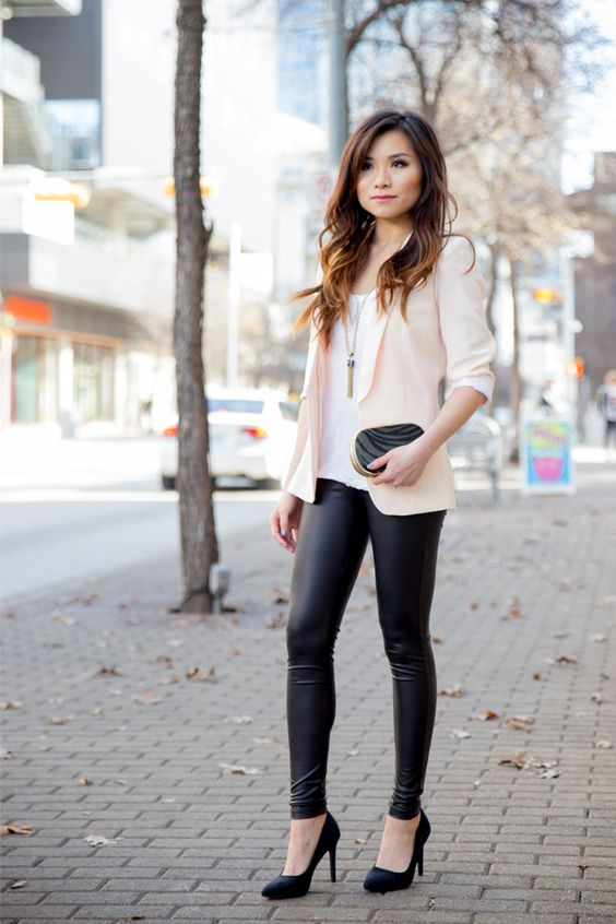 leather leggings, black heels, a white top and a blush blazer for a glam look