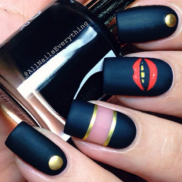Black-nail-art Winter Nail Art Ideas - 80 Best Nail Designs This Winter