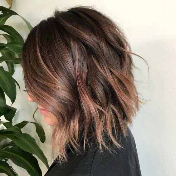 brunette hair with subtle rose gold balayage for an elegant touch