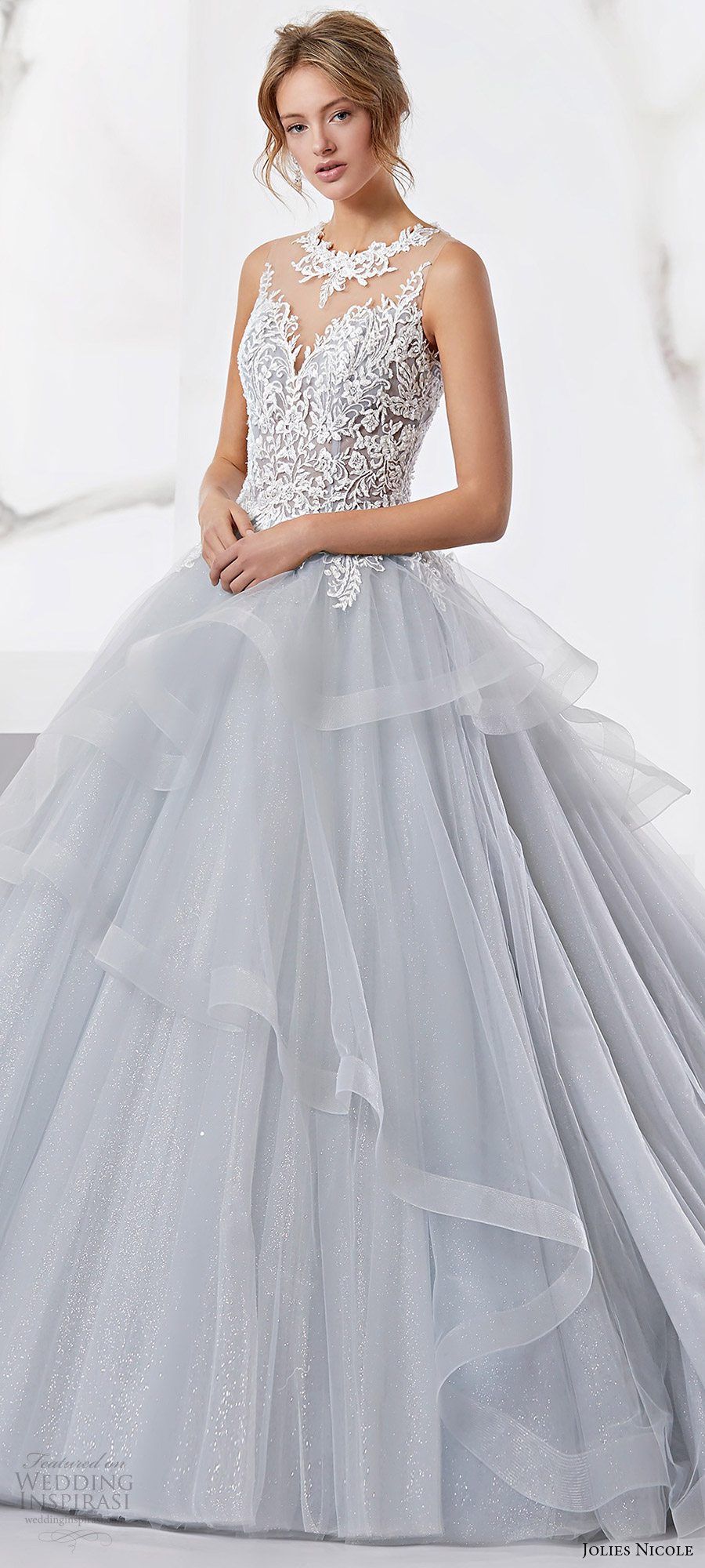 jolies nicole 2018 bridal trends sleeveless jewel neck beaded lace bodice layered skirt ball gown wedding dress (JOAB18526) mv light blue