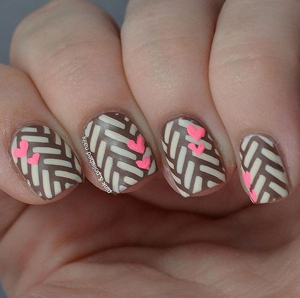 Cute-brown-and-gray-with-heart-nail-art Winter Nail Art Ideas - 80 Best Nail Designs This Winter