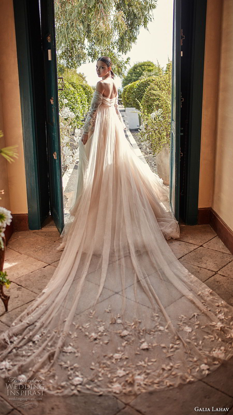 galia lahav couture fall 2018 bridal long bishop sleeves off the shoulder sweetheart neckline ruche bodice champagne romantic a line wedding dress royal train (14) bv