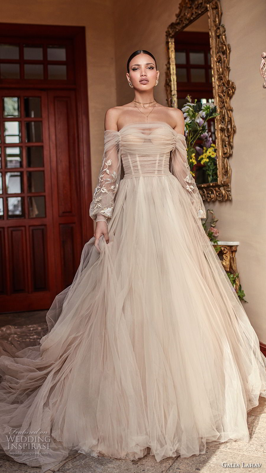 galia lahav couture fall 2018 bridal long bishop sleeves off the shoulder sweetheart neckline ruche bodice champagne romantic a line wedding dress royal train (14) mv