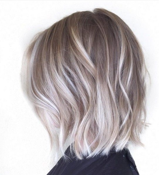 light brown short bob with icy and ash blonde balayage for a trendy modern look