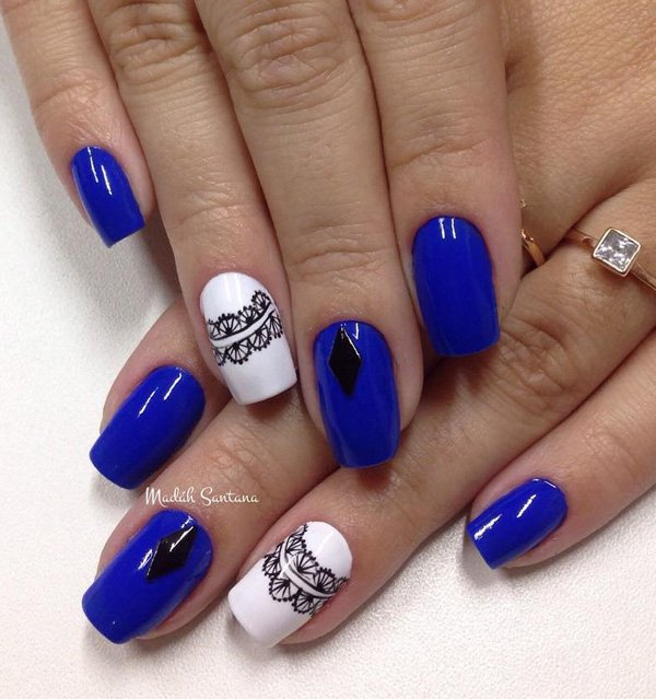 blue-and-white-with-lace-nail-art Winter Nail Art Ideas - 80 Best Nail Designs This Winter