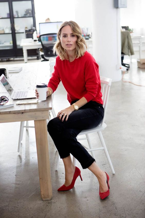 a red cashmere sweater, black cropped jeans, red heels for a Friday look at work