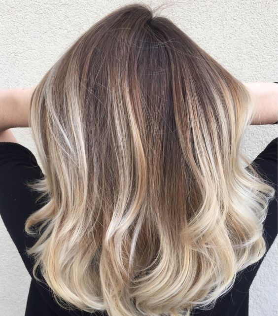 brown medium length hair with blonde balayage to make a statement