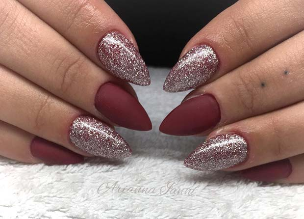 Bordeaux and Glitter Nails for Winter Nail Ideas