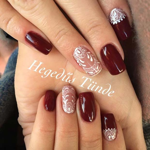 Winter Lace Nails for Winter Nail Ideas