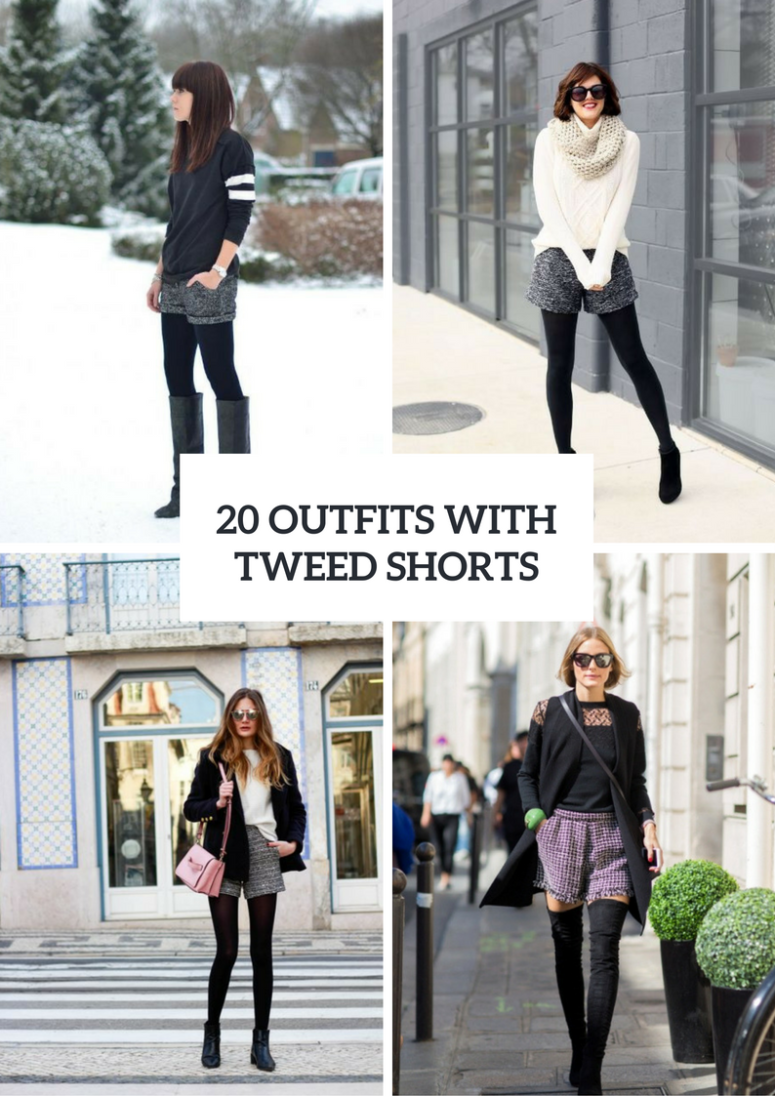Winter Outfits With Tweed Shorts