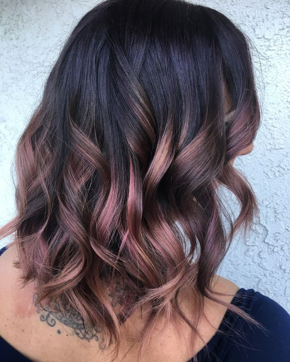 rose gold and plum balayage on black roots