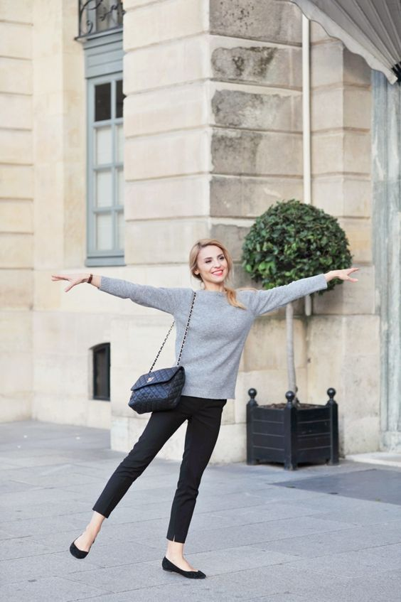 Parisian chic style with a grey cashmere sweater, black cropped pants and black flats