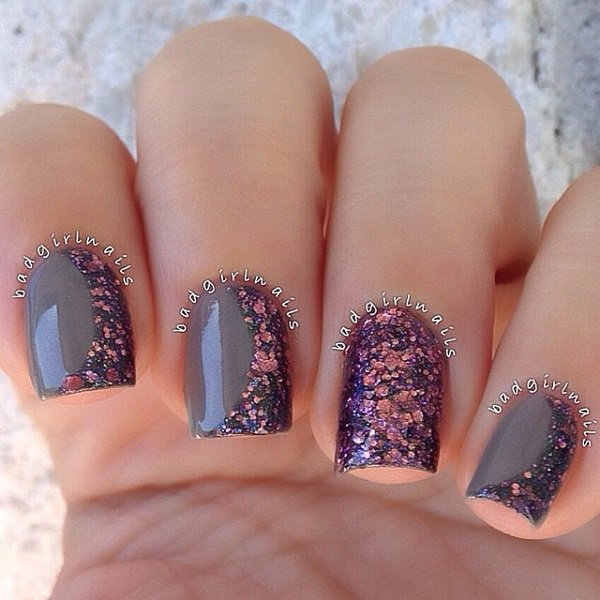 Gary-and-brown-glitter-nail-art Winter Nail Art Ideas - 80 Best Nail Designs This Winter