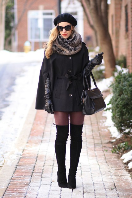 With black cape coat, over the knee boots, beret, long gloves and bag