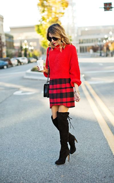 With red sweater, over the knee boots and chain strap bag