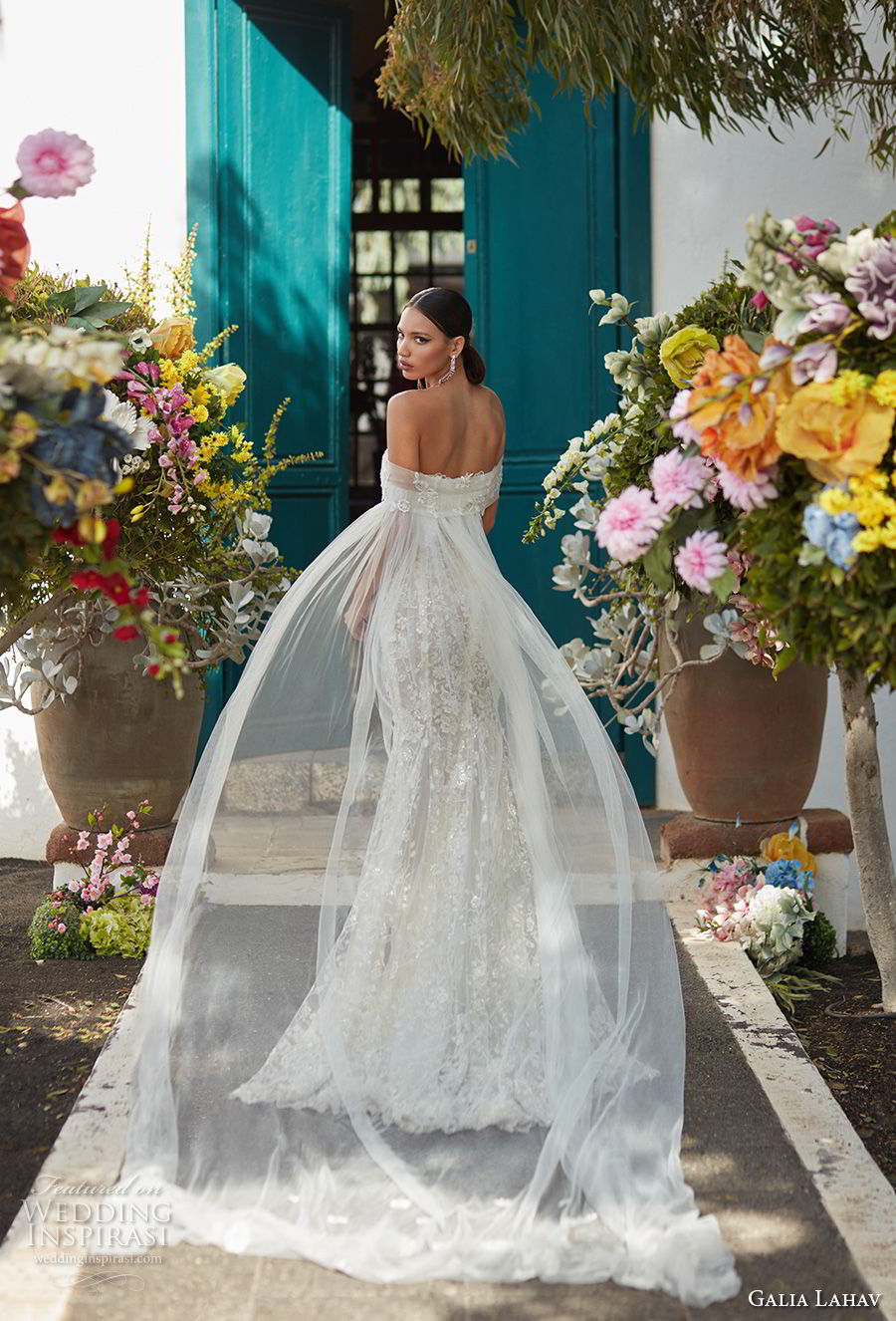 galia lahav couture fall 2018 bridal off the shoulder straight across neckline full embellishment elegant fit and flare wedding dress sweep train (16) bv