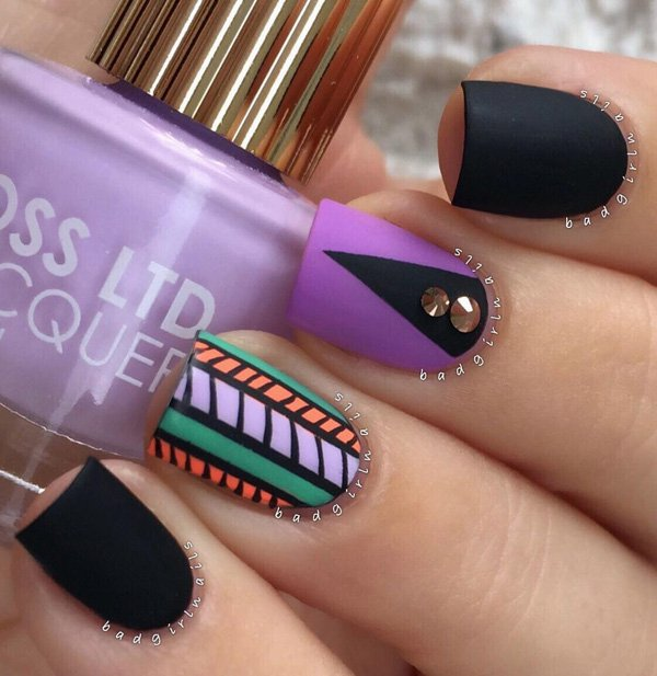 Black-and-purple-with-tribe-nail-art Winter Nail Art Ideas - 80 Best Nail Designs This Winter