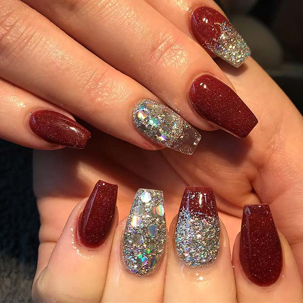 Red and Silver Glitter Nail Designs for Winter Nail Ideas
