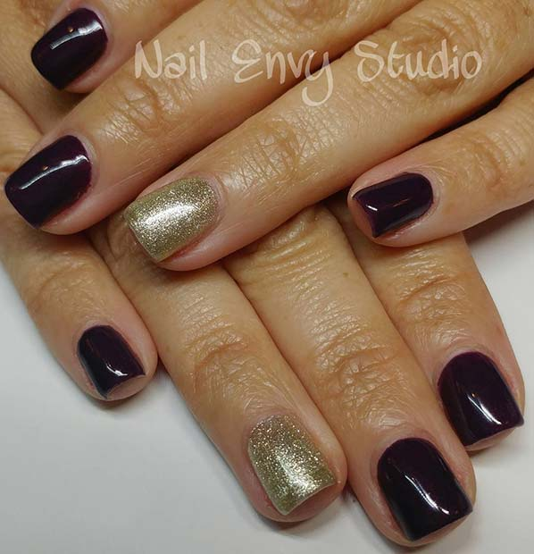 Dark Purple Nails with Gold Glitter Accent Nail for Winter Nail Ideas