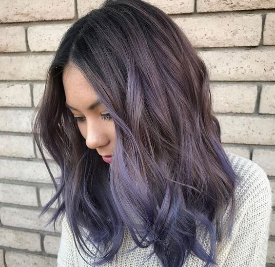 ashy grey wavy long bob with lavender and purple balayage perfectly match in the shades