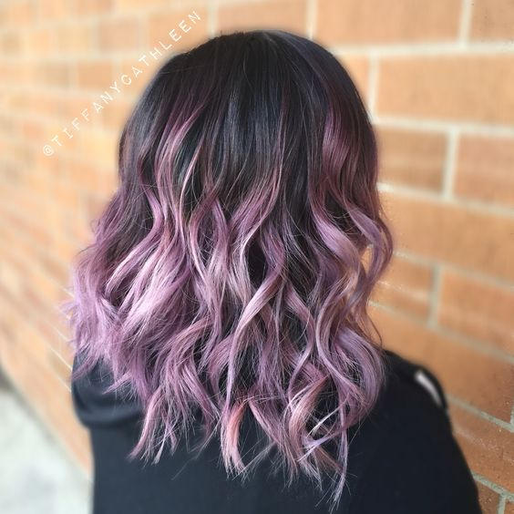 smoky lavender balayage ombré on a wavy long bob