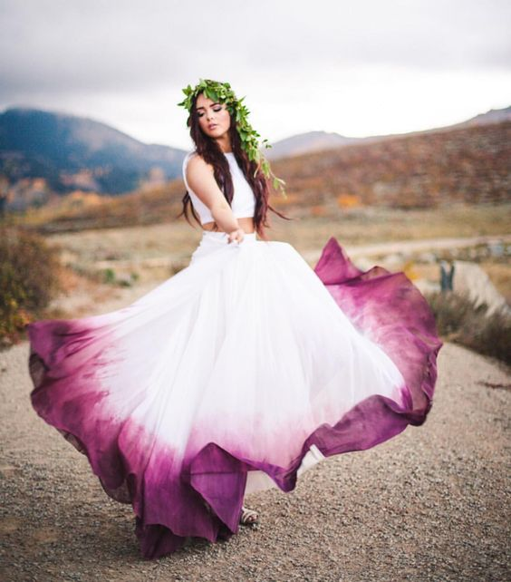a trendy bridal separate with a sleeveless crop top and a maxi skirt with ombre purple