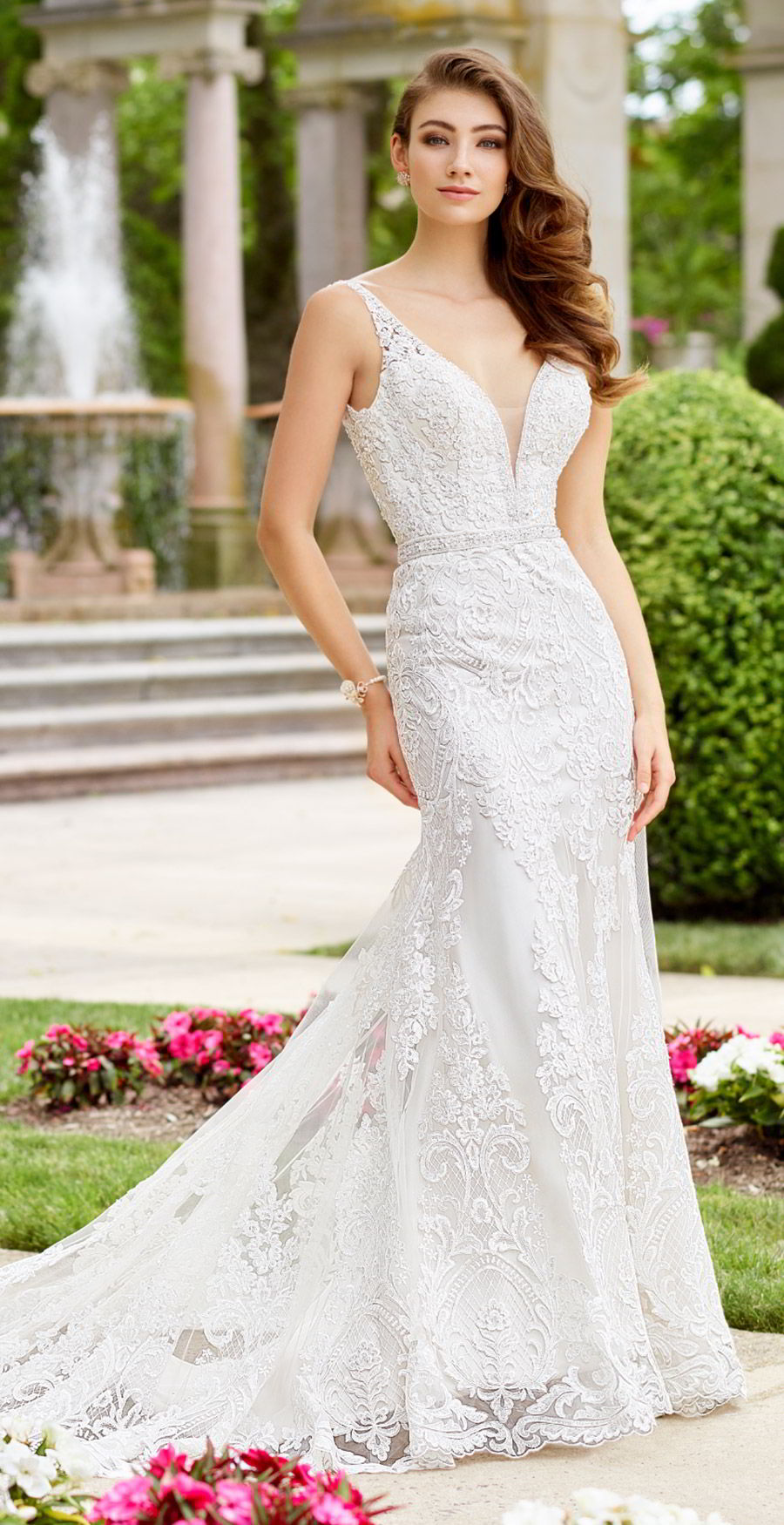 martin thornburg mon cheri spring 2018 bridal sleeveless beaded straps plunging v neck heavily embellished trumpet lace wedding dress (arietta 118274) mv chapel train elegant