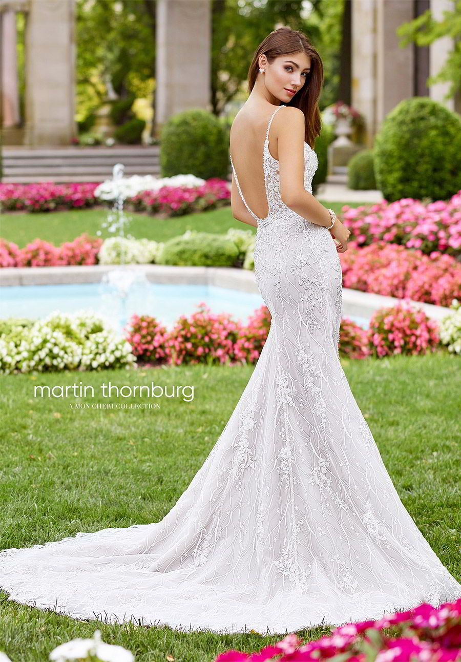 martin thornburg mon cheri spring 2018 bridal sleeveless thin straps sweetheart heavily embellished fit flare trumpet wedding dress (118252 pavane) bv low back elegant