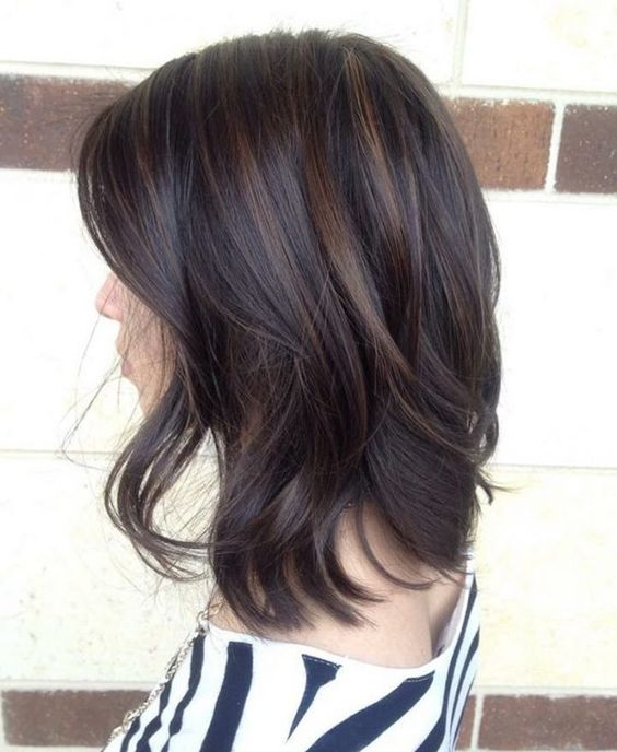 dark chocolate hair with lighter brunette highlights