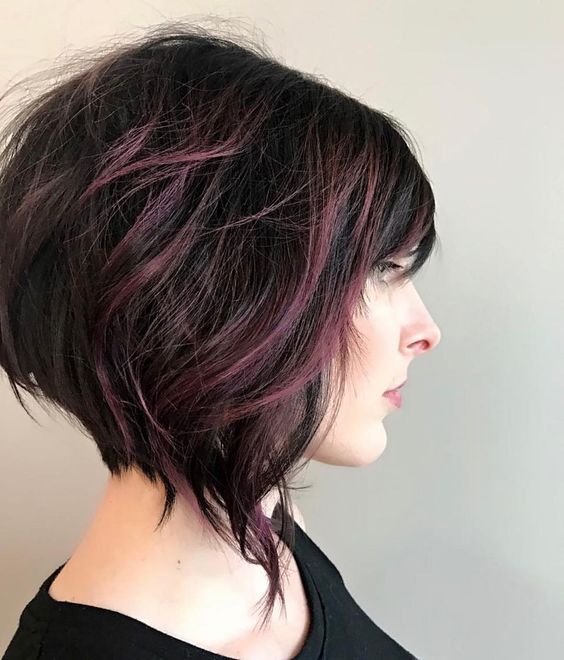 short angled bob and dark purple balayage highlights on black hair looks wow