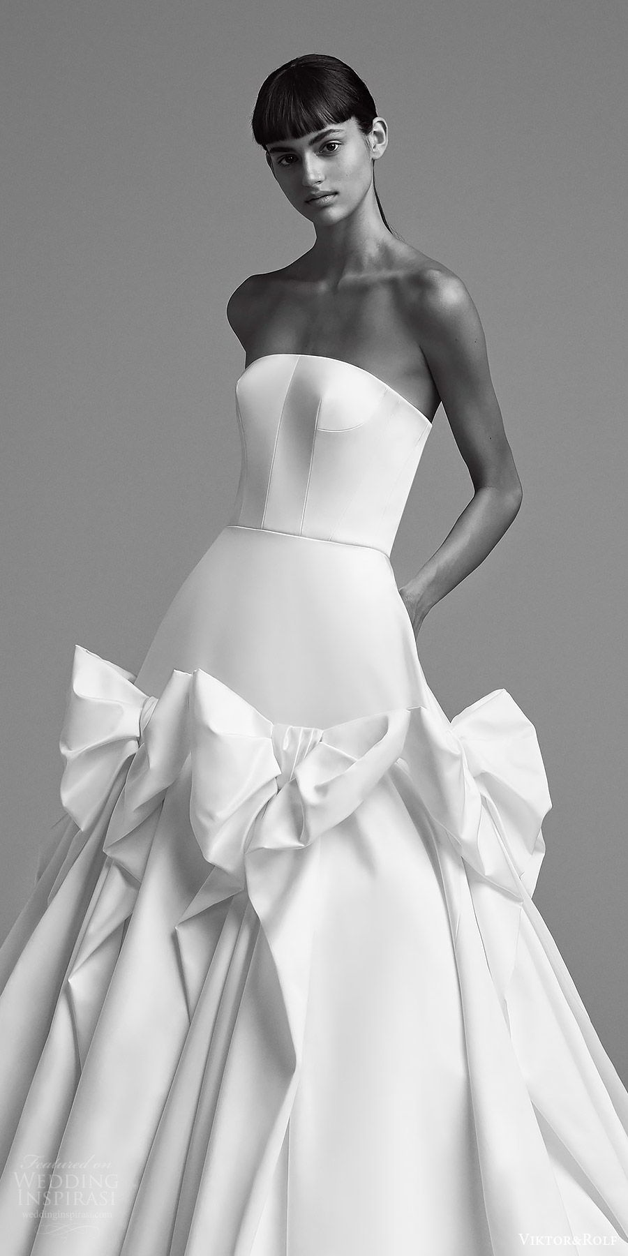 viktor and rolf fall 2018 bridal strapless straight across ball gown wedding dress (9) zv romantic modern