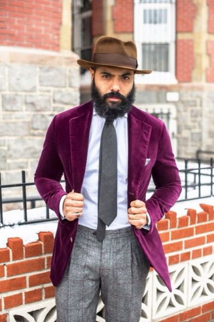 With purple suede blazer, brown hat, white shirt and gray tie