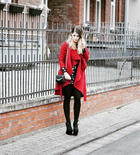 With floral dress, black tights, mini bag and platform boots