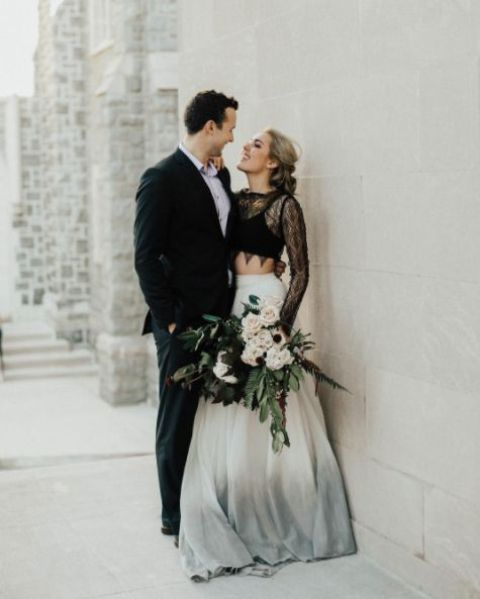a trendy bridal separate with a black lace sheer crop top and an A-line ombre grey skirt