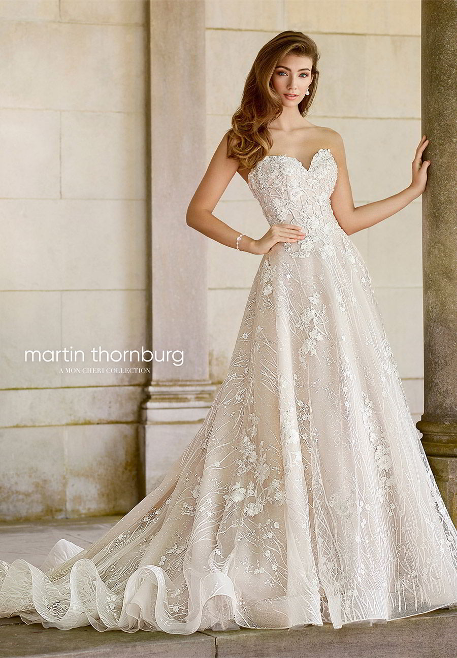 martin thornburg mon cheri spring 2018 bridal strapless sweetheart beaded bodice a line lace wedding dress (118281 coda) mv elegant romantic