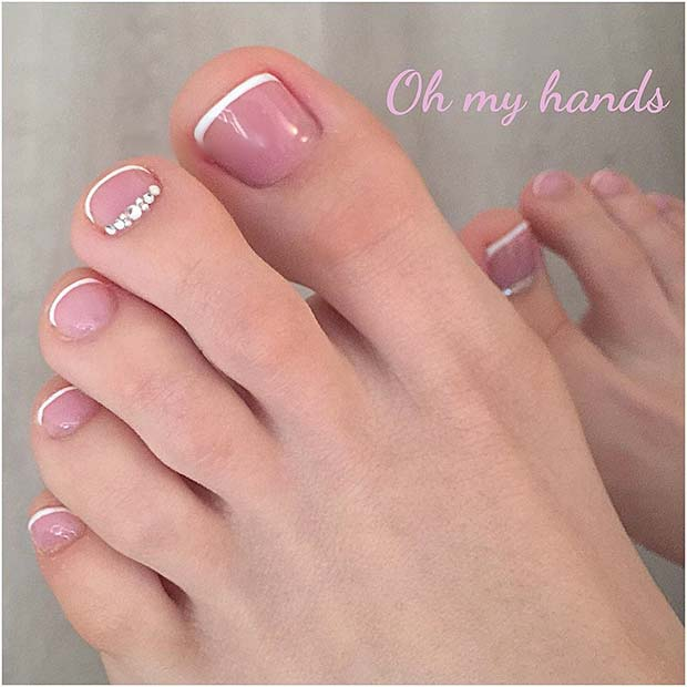 French Pedicure with Crystals for Wedding Pedicure Ideas for Brides